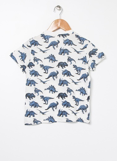 Koton Koton Dinozor Baskılı T-Shirt Ekru